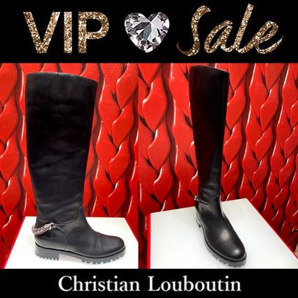 Christian Louboutin Casual Style Plain Pin Heels Elegant Style Boots Boots