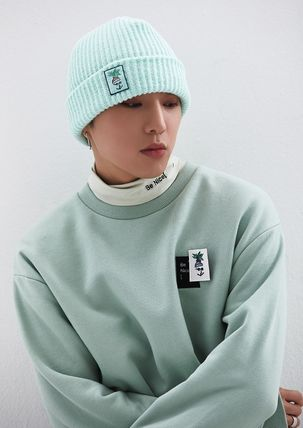 Unisex Street Style U-Neck Long Sleeves Plain Logo