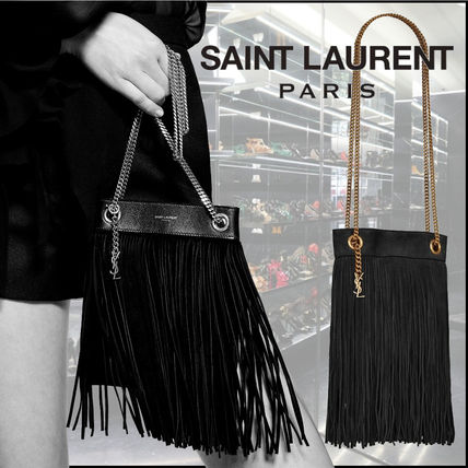 Saint Laurent Calfskin Chain Plain Fringes Crossbody Logo Shoulder Bags