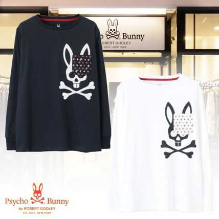 Psycho Bunny Long Sleeve Pullovers Unisex Street Style U-Neck Long Sleeves Plain