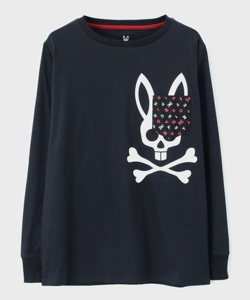 Psycho Bunny Long Sleeve Pullovers Unisex Street Style U-Neck Long Sleeves Plain 2