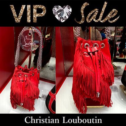 Christian Louboutin Blended Fabrics Street Style Plain Leather Shoulder Bags
