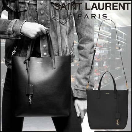 Saint Laurent Calfskin Plain Logo Totes