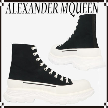 alexander mcqueen Street Style Plain Leather Logo Engineer Boots