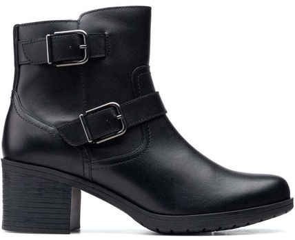 Clarks Plain Toe Suede Spawn Skin Leather Block Heels Chelsea Boots