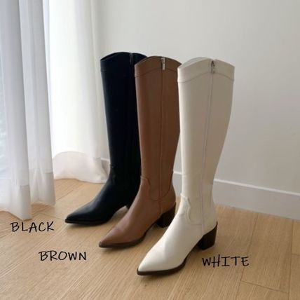 Cowboy Boots Rubber Sole Casual Style Faux Fur Street Style