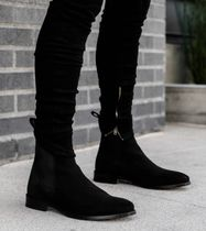 ORO LOS ANGELES Suede Plain Leather Logo Boots
