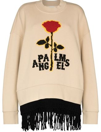Palm Angels Logo Long Sleeves Plain Cotton Street Style