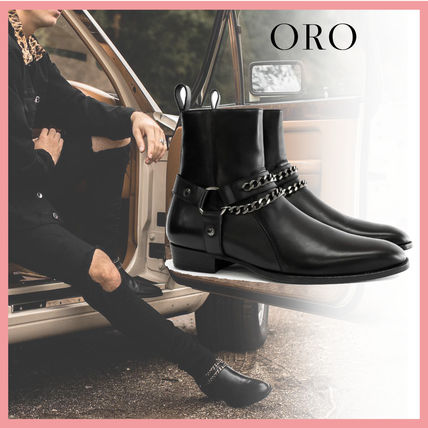 ORO LOS ANGELES More Boots Chain Plain Leather Handmade Boots