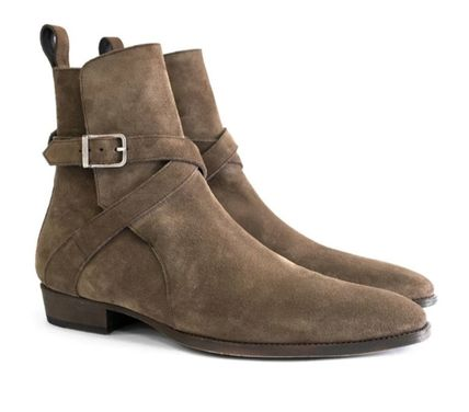 Suede Plain Leather Handmade Logo Boots