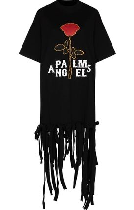 Palm Angels Flower Patterns Casual Style Street Style Plain Cotton