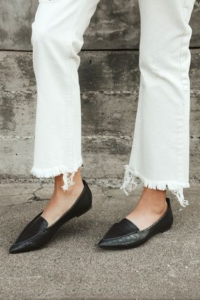 Lulu's Casual Style Suede Faux Fur Plain Pointed Toe Shoes
