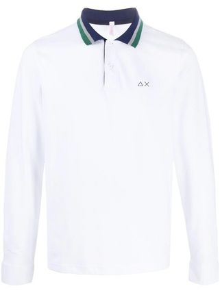 Pullovers Stripes Long Sleeves Cotton Logo Polos