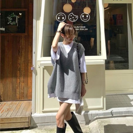 Casual Style Street Style Oversized Co-ord Vests