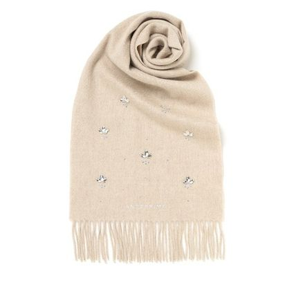 Cashmere Plain Logo Knit & Fur Scarves