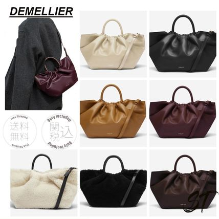 Casual Style Calfskin Street Style 2WAY Plain Leather Purses