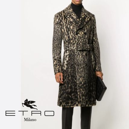 Leopard Patterns Blended Fabrics Leather Long Coats