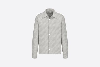 Button-down Street Style Long Sleeves Oversized Logo Shirts