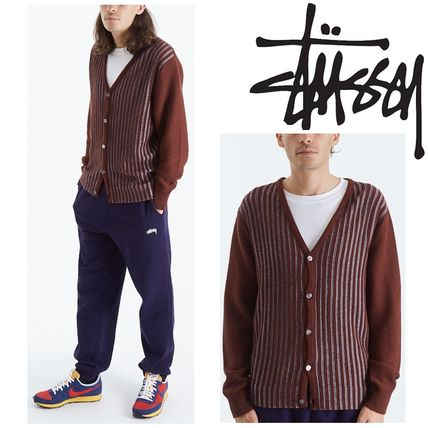 STUSSY Cardigans Stripes Unisex Wool Street Style Cotton Skater Style