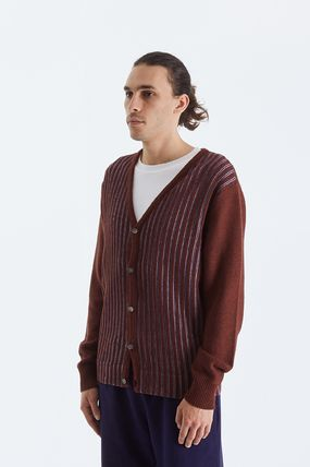 STUSSY Cardigans Stripes Unisex Wool Street Style Cotton Skater Style 3