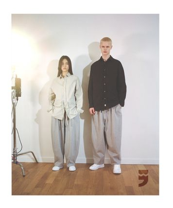 Casual Style Unisex Street Style Cotton Wide Leg Pants