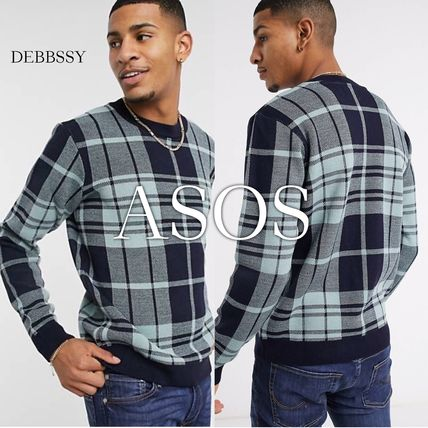 ASOS Sweaters Crew Neck Pullovers Other Plaid Patterns Street Style