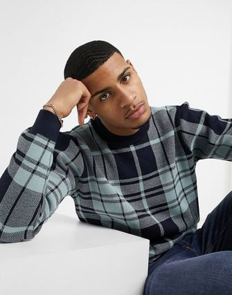 ASOS Sweaters Crew Neck Pullovers Other Plaid Patterns Street Style 2