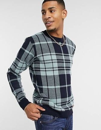 ASOS Sweaters Crew Neck Pullovers Other Plaid Patterns Street Style 3