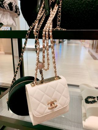 CHANEL Plain Logo Shoulder Bags