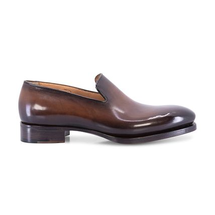 Moccasin Plain Leather Logo Loafers & Slip-ons