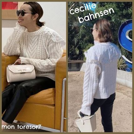 Crew Neck Cable Knit Casual Style Wool Elegant Style