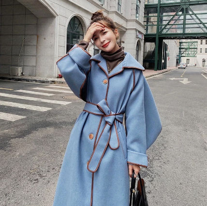 Stand Collar Coats Casual Style Wool Bi-color Plain Medium