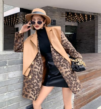 Stand Collar Coats Leopard Patterns Casual Style Wool