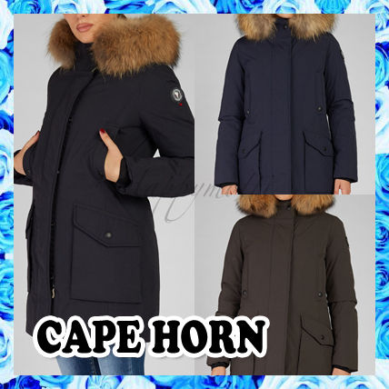 Blended Fabrics Street Style Plain Long Logo Down Jackets