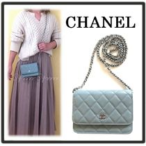 CHANEL CHAIN WALLET Casual Style Calfskin Chain Party Style Elegant Style