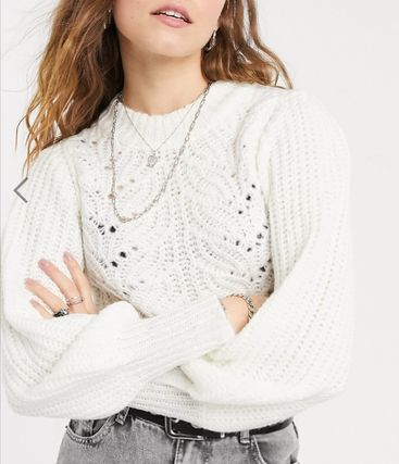 Crew Neck Casual Style Rib Long Sleeves Plain Lace