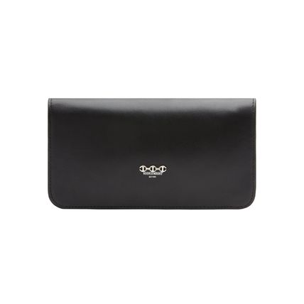 Unisex Leather Folding Wallet Logo Long Wallets