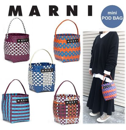 MARNI MARNI MARKET Other Plaid Patterns Blended Fabrics Handmade Straw Bags