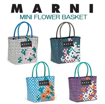 MARNI MARNI MARKET Flower Patterns Handmade PVC Clothing Straw Bags