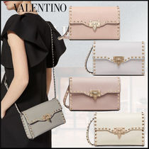 VALENTINO Casual Style Studded Plain Leather Crossbody Shoulder Bags