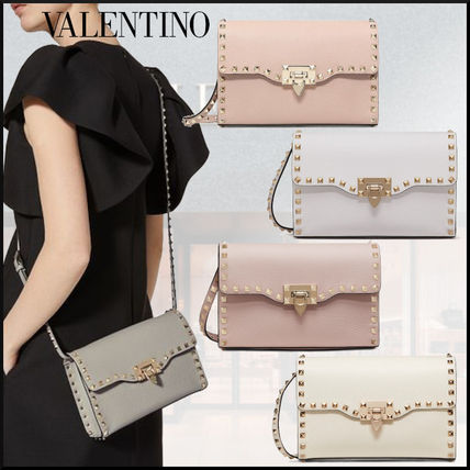 VALENTINO Crossbody Casual Style Studded Plain Leather Shoulder Bags