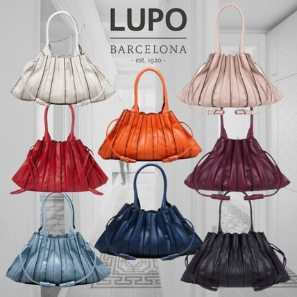 Lupo Barcelona Bucket Bags Casual Style Tassel Plain Leather Purses Office Style