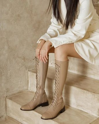 Looks Like Summer Casual Style Leather Party Style Elegant Style Flat Boots