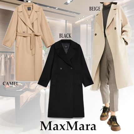 Wool Plain Medium Office Style Elegant Style Coats