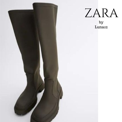 ZARA Casual Style Plain Over-the-Knee Boots