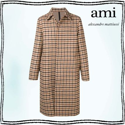 Gingham Wool Long Trench Coats