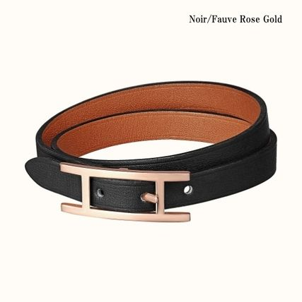 HERMES Bangles Casual Style Unisex Street Style Leather Party Style