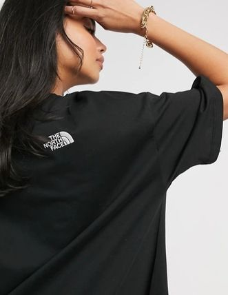 THE NORTH FACE Crew Neck Street Style Plain Cotton Short Sleeves Logo