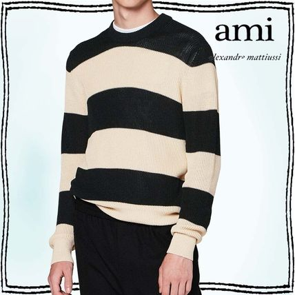 Crew Neck Pullovers Stripes Bi-color Long Sleeves Cotton