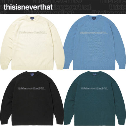 thisisneverthat Unisex Street Style Long Sleeves Logo Sweaters